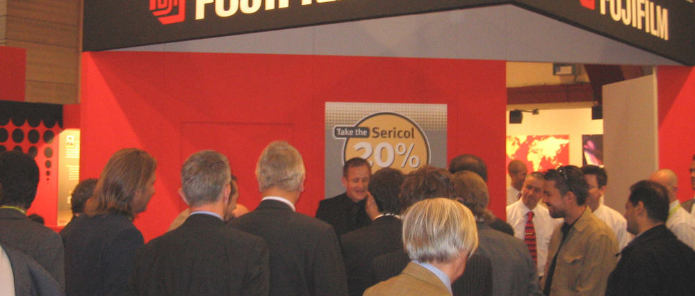 Exhibition stand attractions attracting and audience for the Fujifilm stand