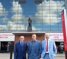 Manchester Magicians Matt Windsor Iain Moran and Chris Clarkson at Manchester United Stadium